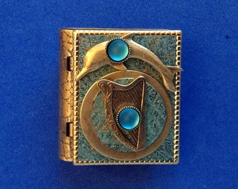 Celtic Harp and Dolphin-miniature book pin with mermaid story inside