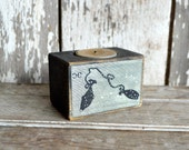 Zodiac Blackened Candle Wood Holder: No. 16, Pisces by Peg and Awl