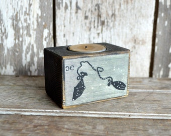 Zodiac Black Candle Holder: No. 16, Pisces. Candle Holder, Beeswax, Rustic Home Decor, Wood Candle Holder, Candle Holder, Constellation