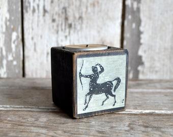 Zodiac Blackened Candle Wood Holder: No. 13, Sagittarius by Peg and Awl