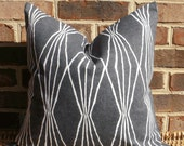 Decorative Pillow: 18 X 18 Designer Accent Throw Pillow Cover in a Charcoal Geometric Design...Home & Living...Home Decor