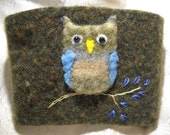 Green and Blue Owl Felted Coffee Cozy