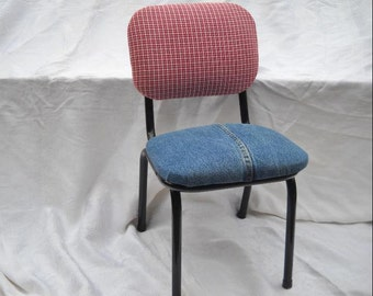 Child's Chair with padded denim seat and red plaid back