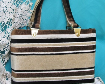 Large Purse Shopper Tote, Earth Tone Stripes, Velvet Chenille, Vegan, Vintage 60s 70s, Made in Italy