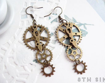 Antique Bronze Gear Earrings, Steampunk Earrings, Clockwork Earrings, Steampunk Gift, Steampunk Gear Earrings, Engineer Gift, Brass Gears
