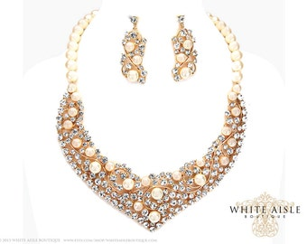 Gold Pearl Statement Necklace Set, Wedding Jewelry Set, Vintage Inspired Bridal Necklace, Rhinestone Necklace, Chunky Necklace