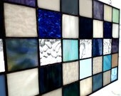 Stained Glass Panel, Glass Transom Valance, Blue Green Lavender White, Scrap Art Glass, Handmade Patchwork, Window Decor
