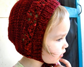 Made to Order Hand Knit Soft Wool Lacy Bonnet With Ties, Newborn - Child Sizes Available