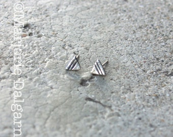 Tribal Triangle Fine Silver Post Stud Earrings with Sterling Silver Post and Earring Back