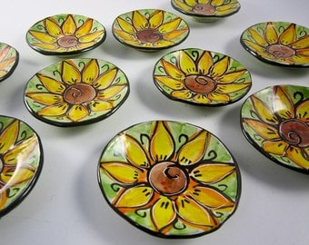 Ceramic Ring Dish - Pottery Ring Dish Holder - Spoon Rest - Trinket dish - Yellow Sunflower - Lime Green -  Majolica - Pottery Ring Dish