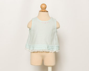 vintage 1960s baby blouse blue tank top