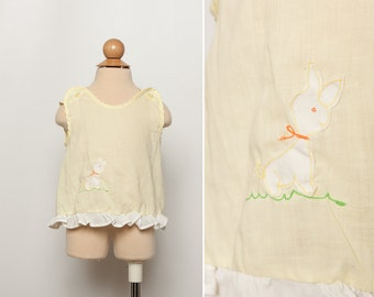 vintage 1970s toddler girl's bunny top