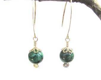Malacite Green Ball and Sterling Silver Cap Bead Earring. Natural Stones Earrings. Mothers Day Gift. Gift for woman.
