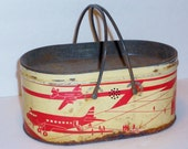 SALE Vintage Tin Lithgraph Airplane Lunch Box, Lunch Pail, Collectible
