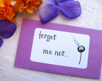 Set of 25 - forget me not... - Seed Packet Favor- FILLED WITH your choice SEEDS- memorial service, remembrance