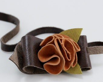 Golden Lambskin Flower Cuff Bracelet