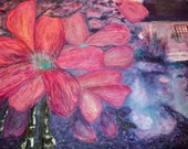 A fiber art quilt in an impressionist style. Affordable original art in a dreamy garden landscape. Muted colors, purple,blue and mauve..