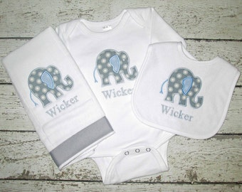 Monogrammed Elephant Burp Cloth, Bib, and Bodysuit - Gift Set for Baby Boy - Personalized Embroidered