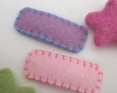 Felt hair clip -No slip -Wool felt -Set of 2 plain -pale pink / lilac