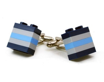 TOULOUSE striped cufflinks made with LEGO® bricks free shipping gift idea