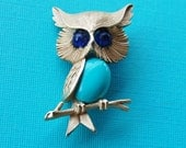 Vintage TRIFARI Turquoise Belly Owl Pin
