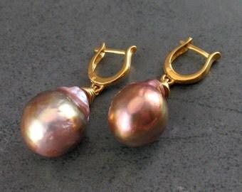 Large oil slick baroque pearl earrings, handmade 24k gold vermeil earrings-OOAK