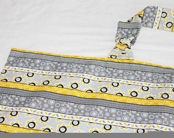 Yellow and Grey Striped Shabby Chic Nursing Cover