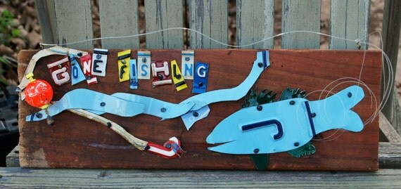 Gone fishing license plate art fish sign for Buy colorado fishing license
