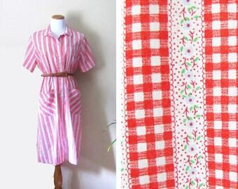 vintage dress 1970s clothing gingham print floral plaid red white size medium m