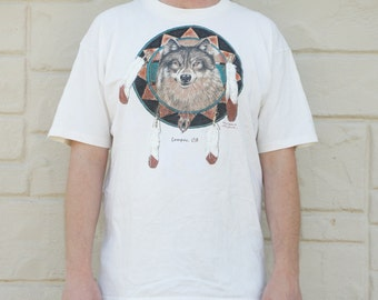 Vintage 90s T-shirt Wolf Dreamcatcher Tribal Southwestern Lompoc, Ca T-Shirt 1995 by Loco Jack Ugly Shirt