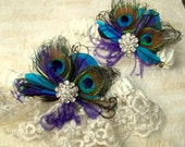 WEDDING GARTER SET, Lace Bridal Garter, Peacock Garter set,  Wedding Garters, Blue Green Purple Teal, Garter Toss Set, Bridal Garters