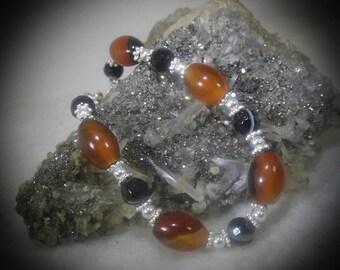 Agate Stone Beaded Bracelet 6 1/2 inch