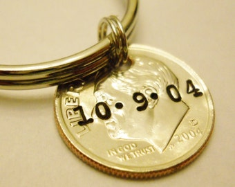 Personalized Keychain: 10th Birthday, 10 Year Anniversary; Gift for Man Her Kids; Initials/Date/Name, Hand Stamped, UNCIRCULATED Dime 2017 +