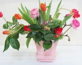 1950s Pink Speckle McCoy Vase Spring Decor Easter