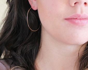 """Thin Gold Hoop Earrings - Large Hoop Earrings ( 2"""" ) gold hoop earings, gold earrings, large gold hoops, gold circle earrings"""