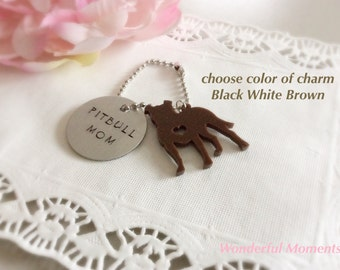 Pitbull Mom Hand Stamped Keychain Made to order Choose Charm With Floppy Ears And Heart Cut Out
