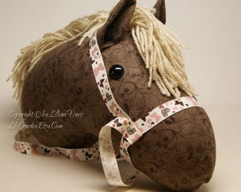 Rocky Mountain Stick Horse Head, Brown Floral with Beige Mane, MADE to ORDER, With or Without Stick
