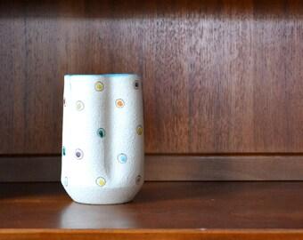 vintage midcentury modern polka dot italian pottery vase