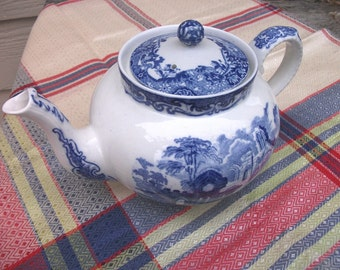 Antique Blue and White English Abbey Teapot