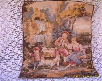 SALE-Large Antique Vintage European Cherub Musical Romantic Couple Tapestry