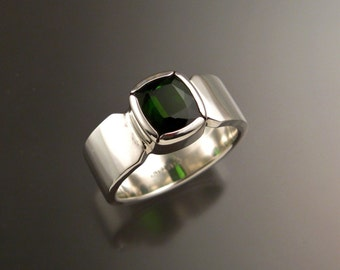 Green Tourmaline Ring Cushion cut Sterling Silver Emerald Substitute Mans ring Size 10