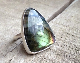 Large Rounded Triangle Rainbow Labradorite Ring of Protection and Balance