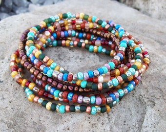 Festival Stack Bracelets - Beaded Stretch Bracelet Stacker Set - Bohemian Hippie - Rustic Gypsy - 9 Stack