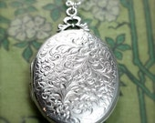 Vintage Sterling Silver Locket Necklace, Floral Engraved Oval Pendant - Wrapped with a Bow