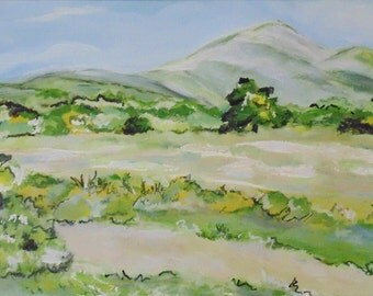 Mountain Cove, original painting, Impressionism, Smoky Mountain art, 24 x 12, Trees, Meadow