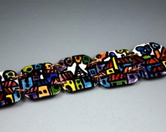 SALE!, Paris, Villages,Little houses,Little buildings ,Handmade, Enamel Bracelet, Bracelet, Enamel Jewelry,Viterous Enamel