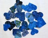 20 Iron-on Heart Appliques, Batik, Fusible, Die-cut, Blue, 20 Pieces