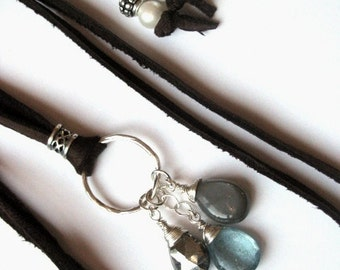 Leather Necklace with Steel Blue Moss Aquamarine, Grey Moonstone and Silver Pyrite