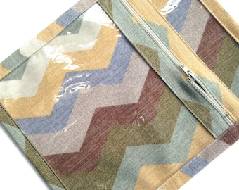 Small Fabric Pouch Vinyl Zipper Chevron