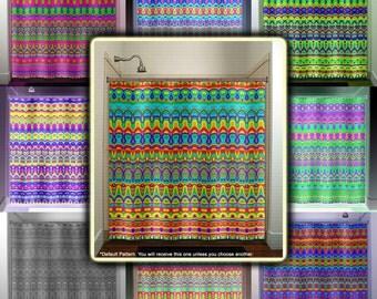 kids color pride chevron rainbow shower curtain bathroom decor fabric kids bath window curtains panels valance bathmat